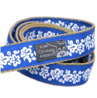 DOG LEAD - HIBISCUS FLOWERS ON ROYAL BLUE